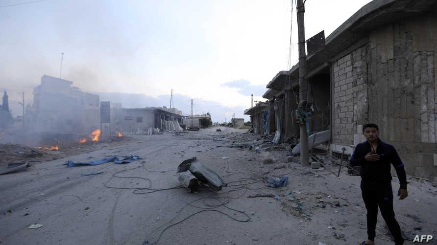 إحدى المناطق التي تعرضت للقصف في إدلب