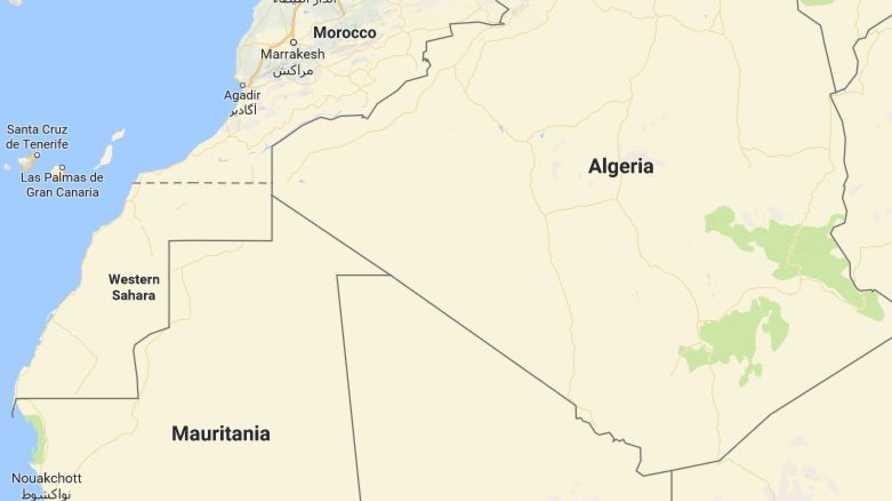 خريطة المغرب والصحراء الغربية (يسار الصورة)