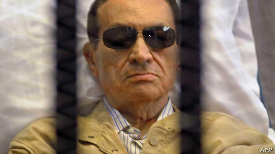 الرئيس المصري السابق حسني مبارك في جلسة لمحاكمته
