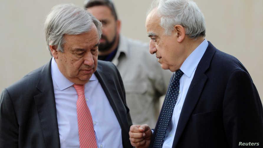 الأمين العام للأمم المتحدة في نقاش مع المبعوث الأممي لليبيا غسان سلامة