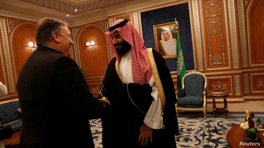 بومبيو متلقيا بن سلمان في الرياض