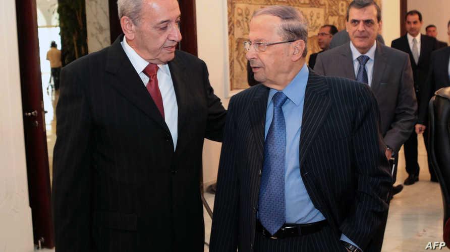 رئيس مجلس النواب اللبناني نبيه بري مع رئيس التيار الوطني الحر ميشال عون