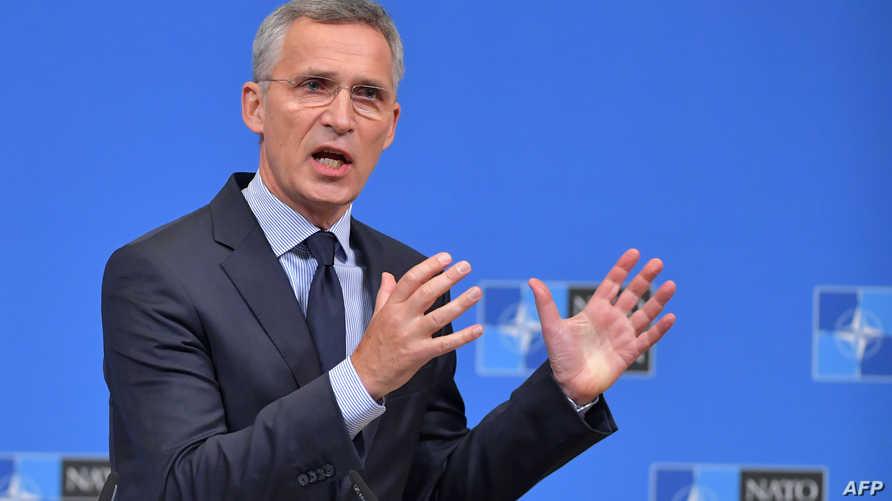 الأمين العام لحلف شمال الأطلسي ينز ستولتنبرغ  في مؤتمر صحافي الثلاثاء