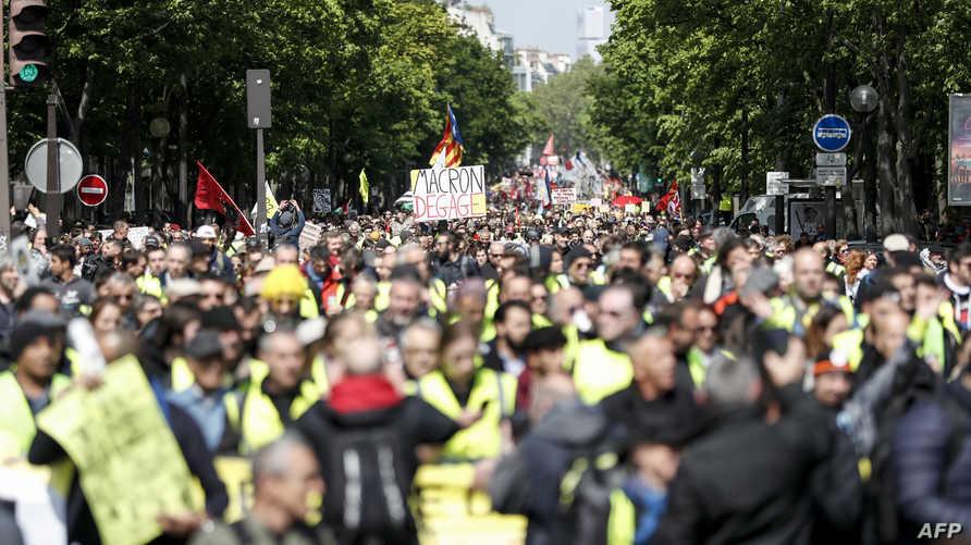 محتجون من السترات الصفراء خلال مظاهرة سابقة في باريس