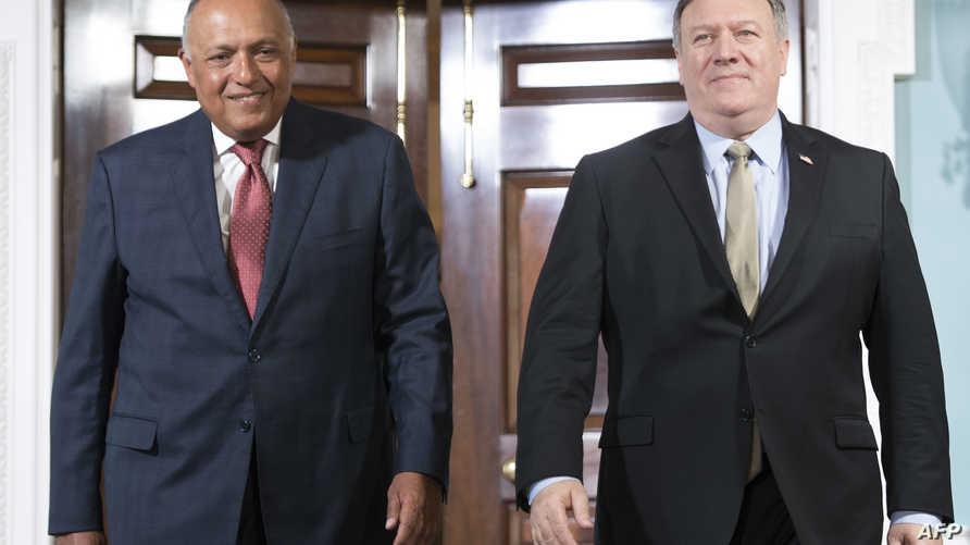وزير الخارجية الأميركي مايك بومبيو ونظيره المصري سامح شكري