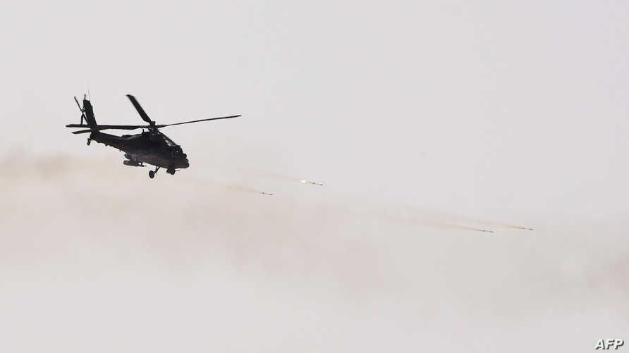مروحية عسكرية خلال تدريبات في الرياض- أرشيف