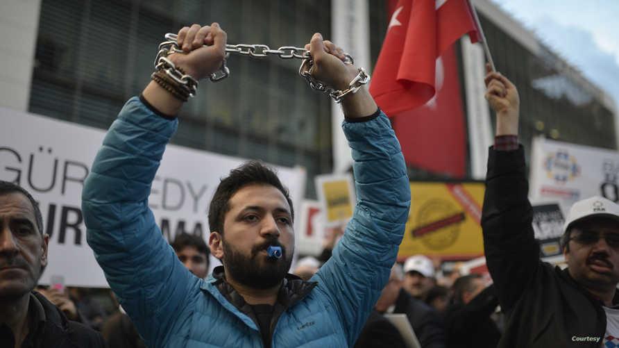 مظاهرة للمطالبة بحرية الصحافة في تركيا- أرشيف