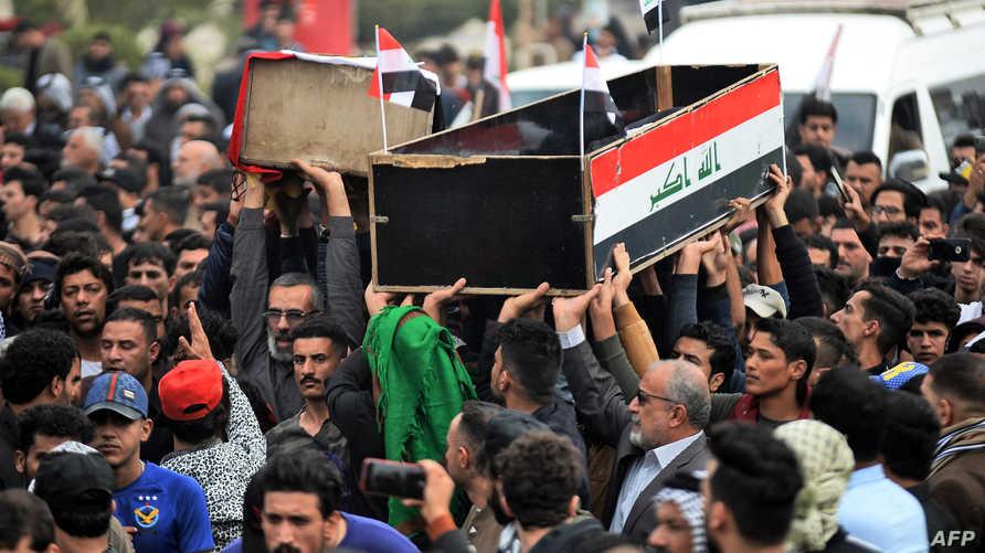 تشييع بعض ضحايا الاحتجاجات في مدينة النجف وسط العراق