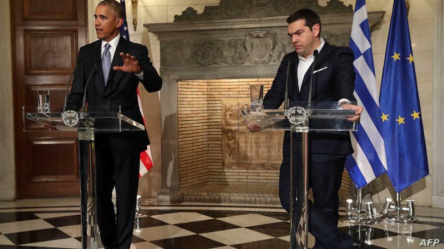 أوباما وتسيبراس خلال مؤتمرهما الصحافي المشترك