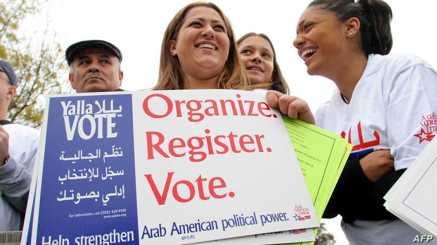 لافتة تدعو الأميركيين من أصول عربية إلى التصويت- أرشيف