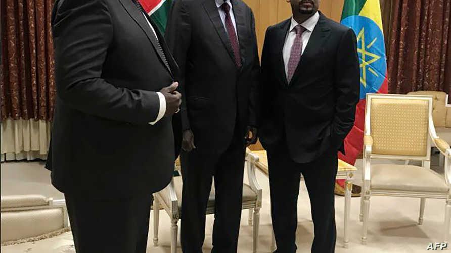 سلفا كير ومشار مع رئيس وزراء إثيوبيا الأسبوع الماضي