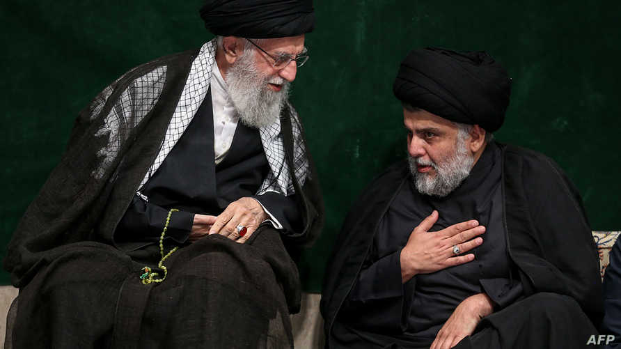 الزعيم الشيعي العراقي مقتدى الصدر والمرشد الأعلى لجمهورية إيران أية الله خامنئي