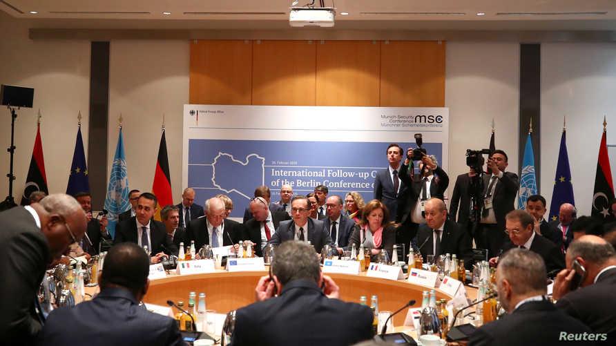 خلال اجتماع لمسؤولين من 12 دولة في ألمانيا لمتابعة تنفيذ ما تم الاتفاق عليه في مؤتمر برلين بشأن ليبيا يناير الماضي