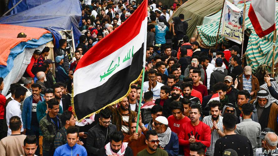 محتجون مناهضون للحكومة في الناصرية جنوبي العراق