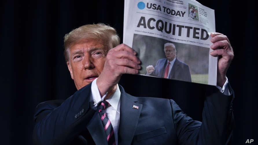 """ترامب يرفع صحيفة عنوانها الرئيسي""""مبرأ"""""""