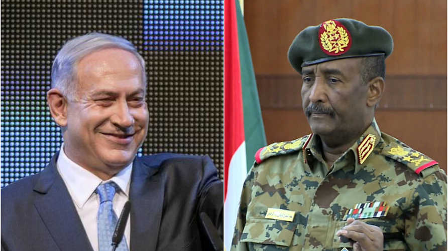 على اليمين عبد الفتاح البرهان وعلى اليسار بنيامين نتنياهو