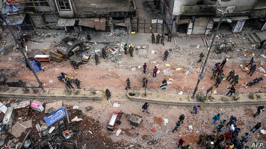 مشهد عام لساحة في نيودلهي شهدت أعمال عنف بين مسلمين وهندوس