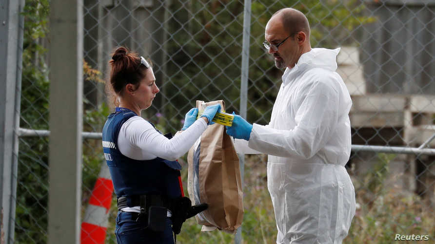 Police and forensic workers work outside Masjid Al Noor after Friday's mosque attacks in Christchurch, New Zealand, March 16,…