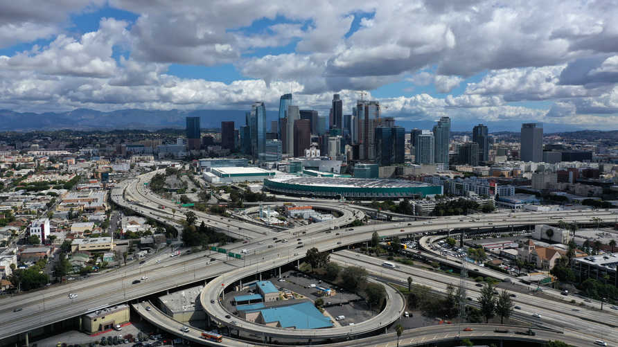 A general view of freeways leading into downtown Los Angeles after California issued a stay-at-home order due to coronavirus…