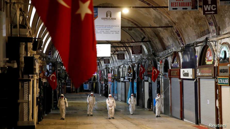 تطهير أحد أكبر الأسواق بإسطنبول التركية - ٢٥ مارس ٢٠٢٠
