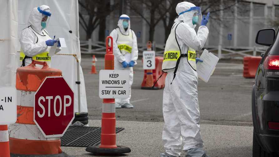 موقع خاص بإجراء فحوصات الكشف عن كوفيد-19 في بوسطن. وتتوقع ولاية ماساشوسيتس ارتفاعا كبيرا في حالات الإصابة بفيروس كورونا بين السابع والـ17 من أبريل