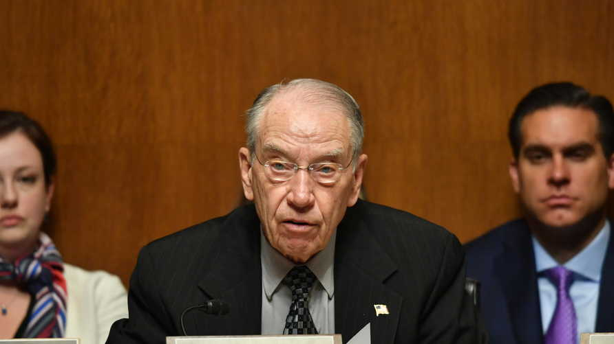"""US Senator Chuck Grassley speaks as US Attorney General William Barr testifies before the Senate Judiciary Committee on """"The…"""