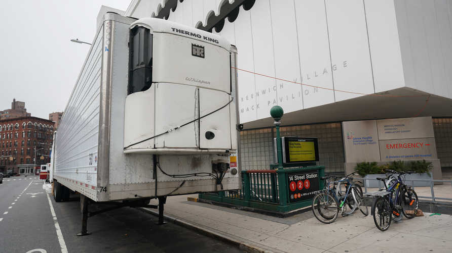 Makeshift morgue sits outside of Lenox Health Greenwich Village facility to handle an expected surge in coronavirus victims on…