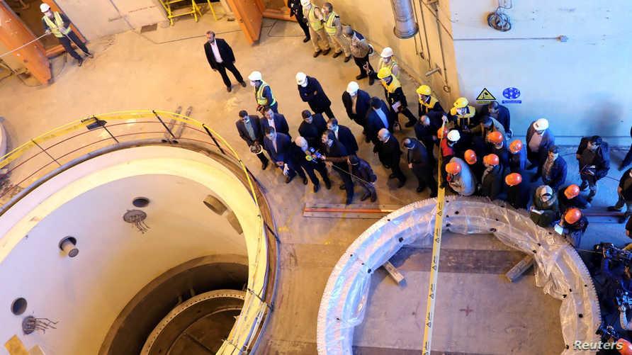 جانب من مفاعل أراك للماء الثقيل. وتحاول إيران الالتفاف على القيود الدولية ومواصلة تطوير برنامجها النووي
