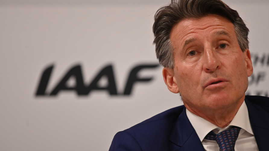 Britain's Sebastian Coe addresses the media following his re-election unopposed as president of the IAAF for a second term in…