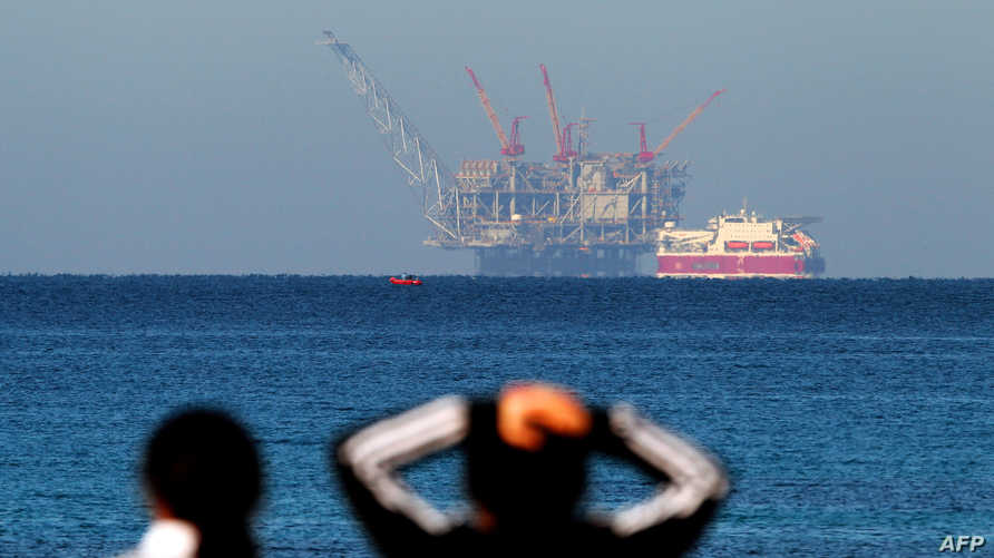A view of the platform of the Leviathan natural gas field in the Mediterranean Sea is pictured from the Israeli northern…