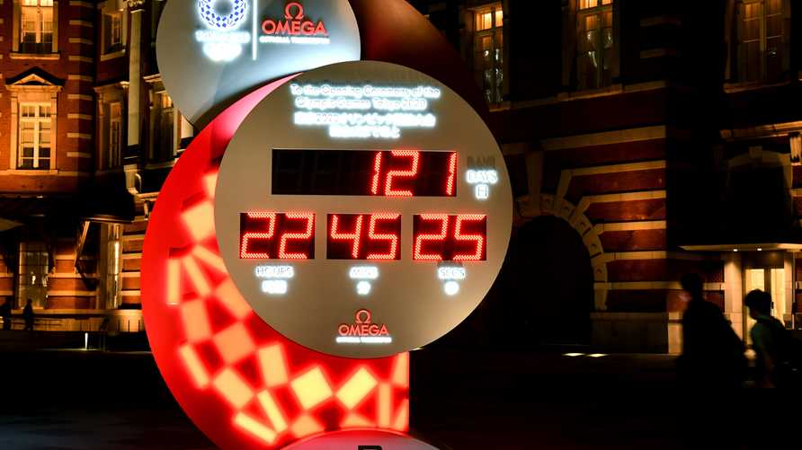 This picture taken on March 24, 2020 shows an electronic 2020 Tokyo Olympic Games countdown clock showing days until the…