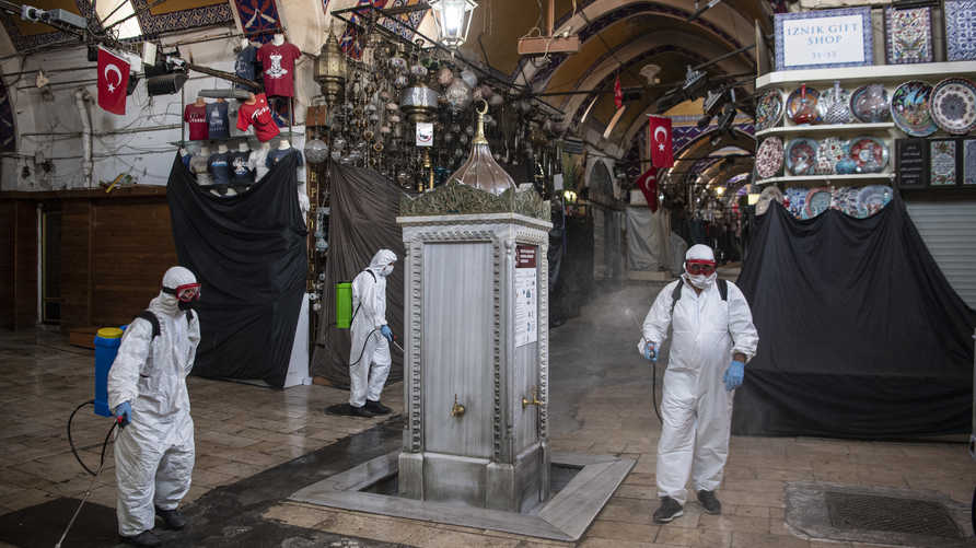 Municipal workers disinfect the iconic Grand Bazaar in Istanbul to prevent the spread of the COVID-19, caused by the novel…
