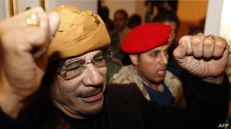 القذافي قتل عام 2011 بعد ثورة شعبية.