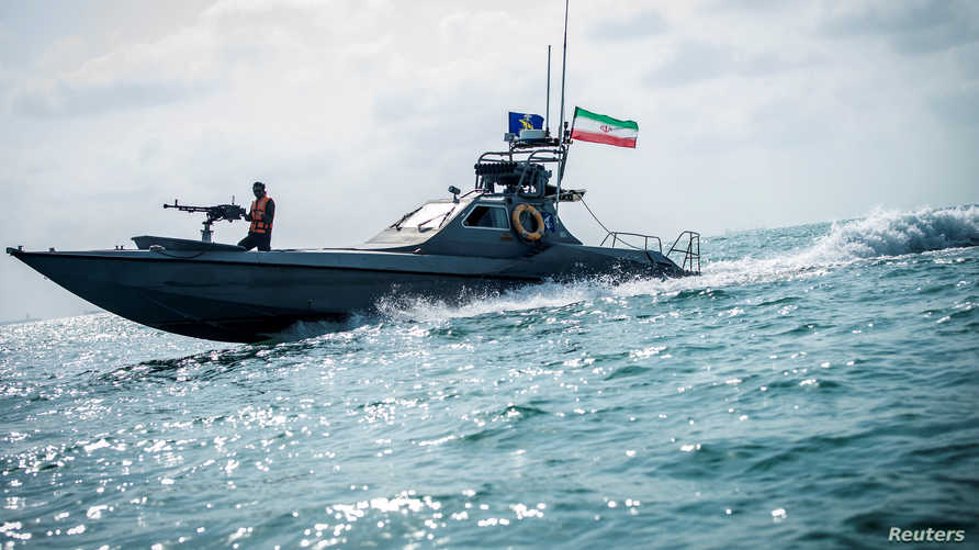 A boat of the Iranian Revolutionary Guard sails, at undisclosed place off the coast of Bandar Abbas, Iran August 22, 2019…