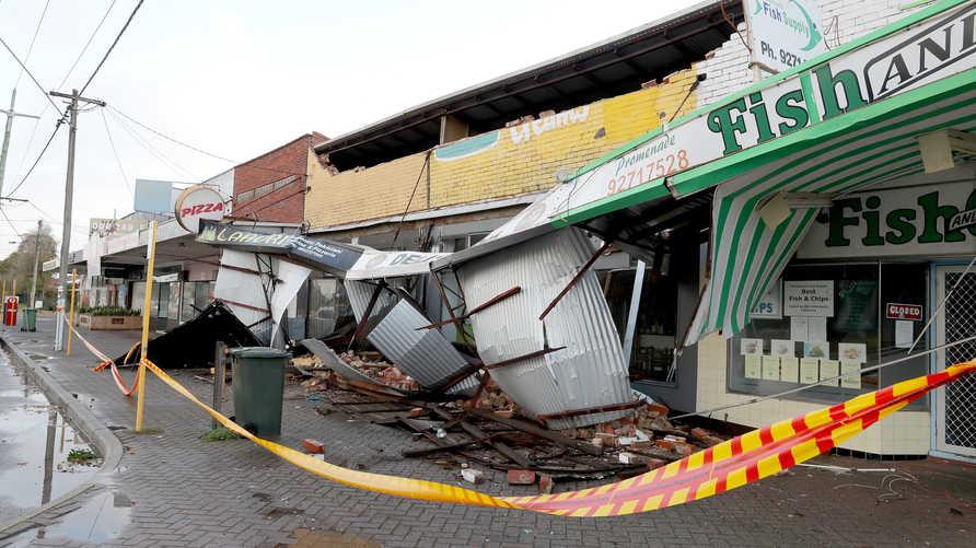 جانب من الدمار الذي خلفته العاصفة التي ضربت أستراليا اليوم