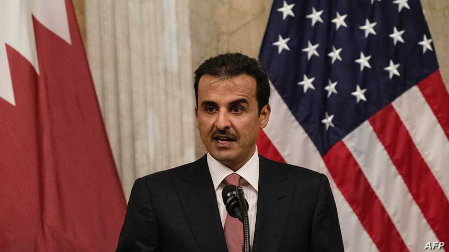 Sheikh Tamim bin Hamad al-Thani, Emir of Quatar, deliver remarks before dinner with US President Donald Trump at the Treasury…