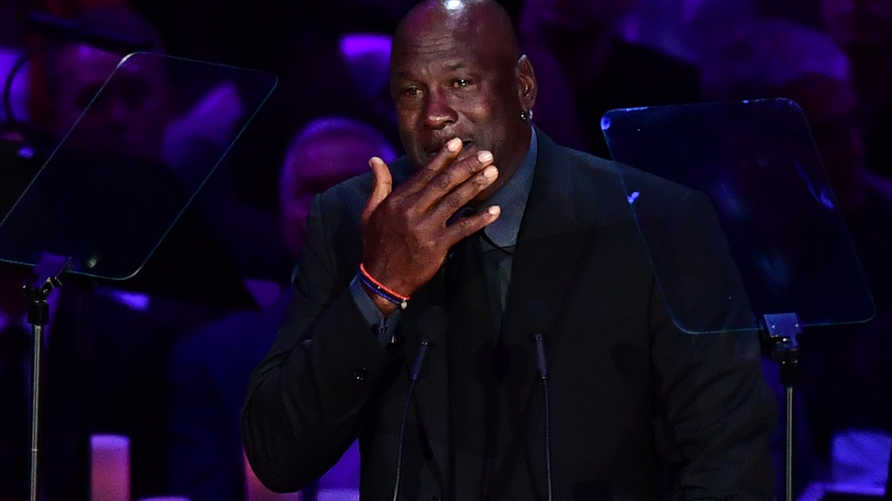 "Retired US basketball player Michael Jordan cries as he speaks during the ""Celebration of Life for Kobe and Gianna Bryant""…"