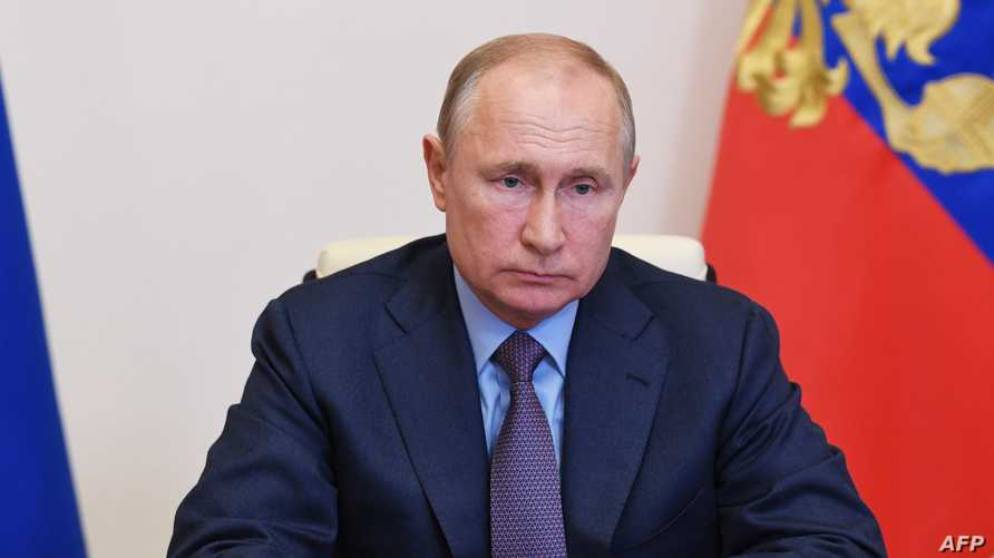 Russian President Vladimir Putin chairs a meeting on dealing with consequences of a fuel spill in the Krasnoyarsk Region, via…
