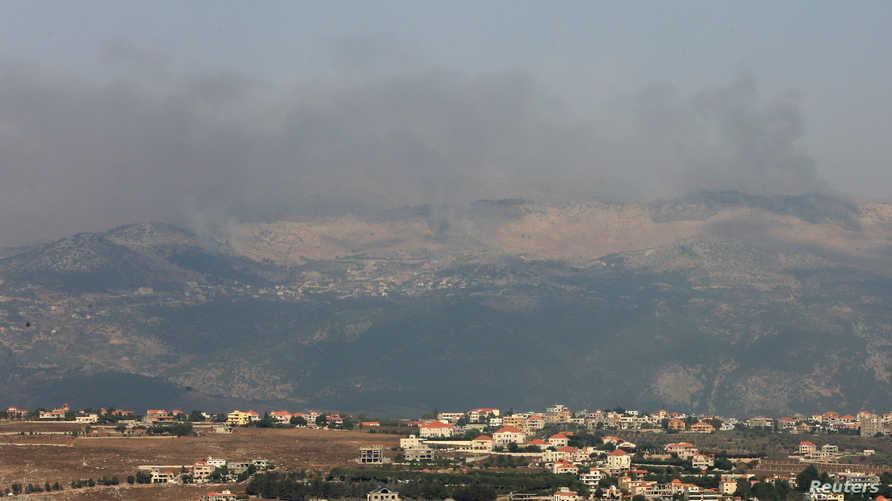 تصاعد الدخان إثر حادث أمني في مزاع شبعا الحدودية بين إسرائيل ولبنان