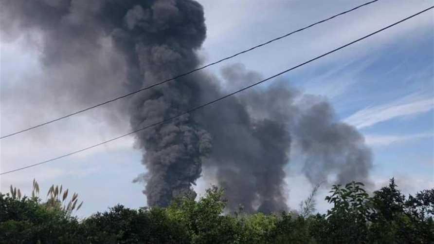 حريق في أنبوب لنقل النفط بمنطقة العبدة في محافظة عكار شمال لبنان