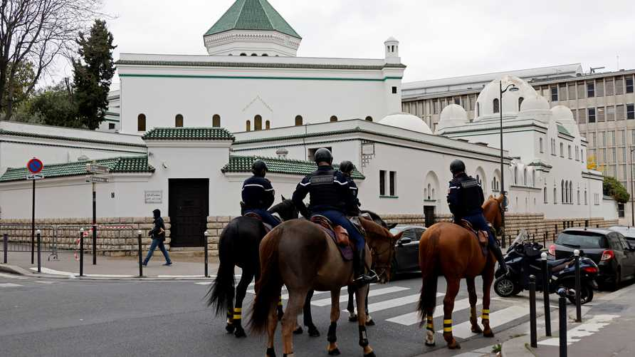 French mounted gendarmes secure the Great Mosque of Paris prior to the friday prayers on the first day of a second national…