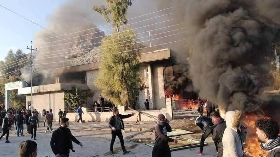 التقارير أشارت إلى احراق المحتجين مقار أحزاب كردية حاكمة