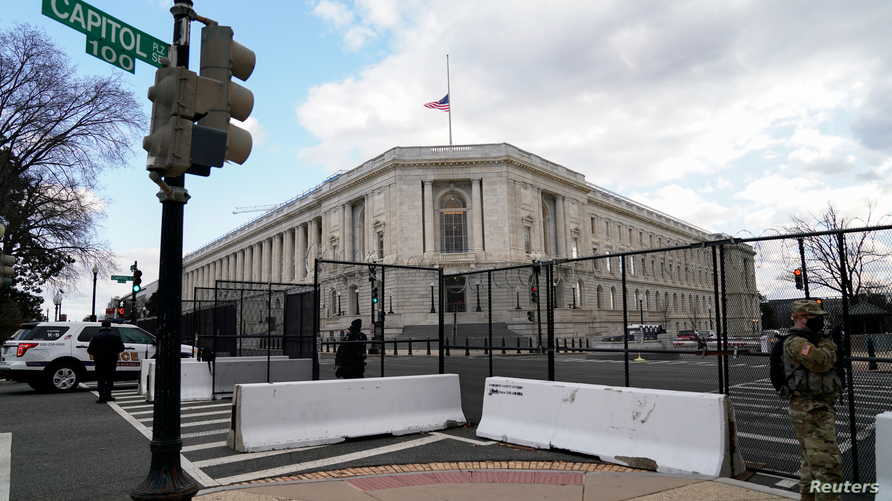 The Cannon House Office Building is seen behind security fencing ahead of presidential inaugural events on Capitol Hill in…