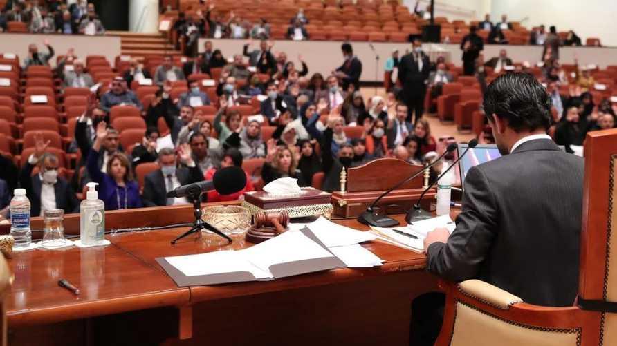البرلمان العراقي خلال التصويت على الموازنة.. المصدر: وكالة الأنباء العراقية