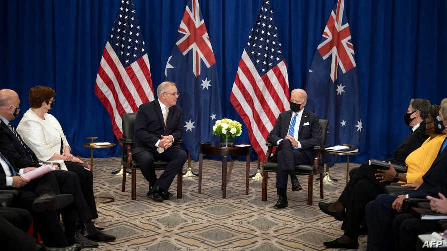Australian Prime Minister Scott Morrison meets with US President Joe Biden on the sidelines of the 76th UN General Assembly on…
