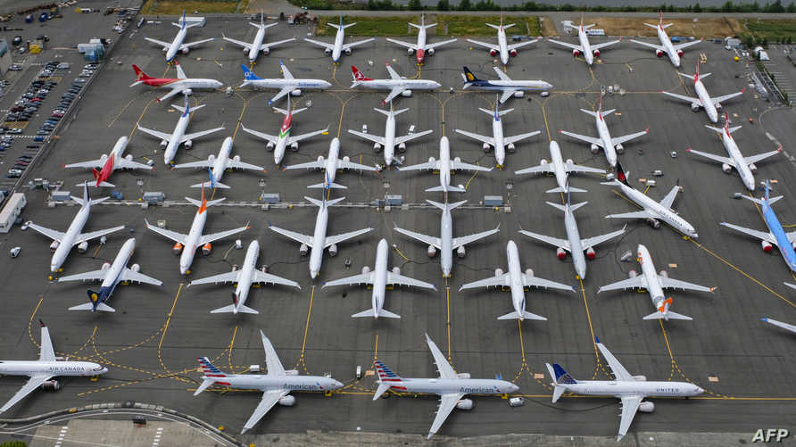 طائرات بوينغ 737 ماكس مخزنة في منطقة قريبة من بوينغ فيلد في سياتل بولاية واشنطن