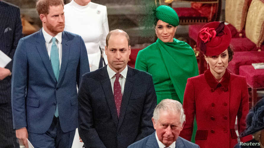 FILE PHOTO: Britain's Prince Charles, Prince William and Catherine, Duchess of Cambridge, Prince Harry and Meghan, Duchess of…
