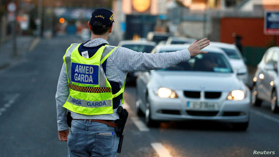 A police officer is seen on the streets of Dublin as the spread of the coronavirus disease (COVID-19) continues, Dublin,…