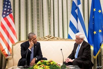 أوباما خلال اجتماعه مع الرئيس اليوناني