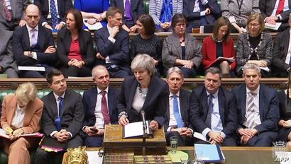 رئيسة الوزراء البريطانية تيريزا ماي تتحدث في مجلس العموم عن البريكست